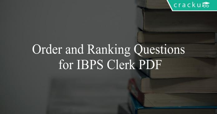 order and ranking questions for ibps clerk pdf
