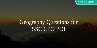 Geography Questions for SSC CPO PDF