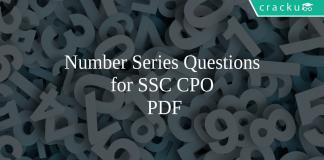 Number Series Questions for SSC CPO PDF