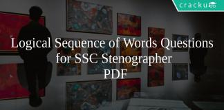 Logical Sequence of Words Questions for SSC Stenographer PDF