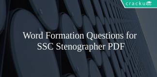Word Formation Questions for SSC Stenographer PDF