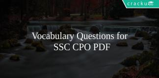 Vocabulary Questions for SSC CPO PDF