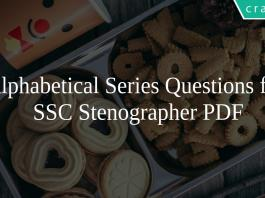 Alphabetical Series Questions for SSC Stenographer PDF