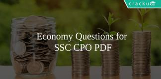 Economy Questions for SSC CPO PDF