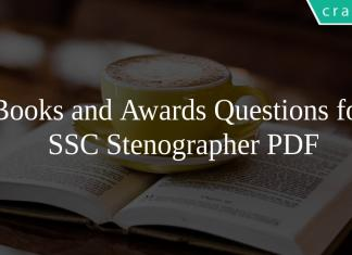 Books and Awards Questions for SSC Stenographer PDF
