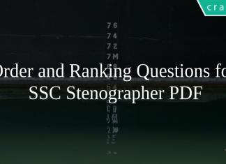 Order and Ranking Questions for SSC Stenographer PDF