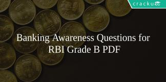 Banking Awareness Questions for RBI Grade B PDF