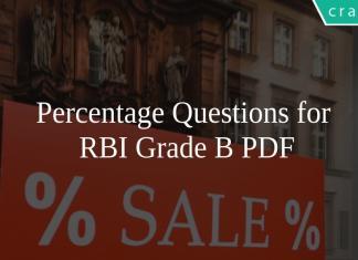 Percentage Questions for RBI Grade B PDF