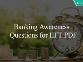 Banking Awareness Questions for IIFT PDF