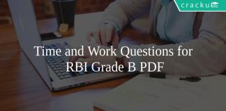 Time and Work Questions for RBI Grade B PDF