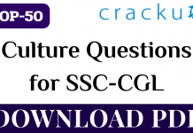 TOP-50 Culture Questions for SSC-CGL