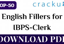 TOP-50 English Fillers for IBPS Clerk