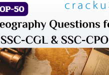 TOP-50 Geography Questions for SSC-CGL & SSC-CPO