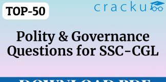 TOP-50 Polity and Governance Questions    SSC-CGL