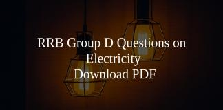 RRB Group D Questions on Electricity PDF