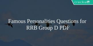 Famous Personalities Questions for RRB Group D PDF