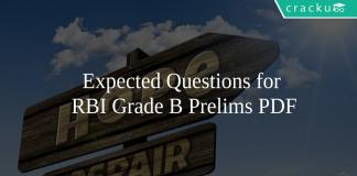 Expected Questions for RBI Grade B Prelims PDF