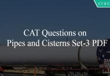 CAT Questions on Pipes and Cisterns Set-3 PDF