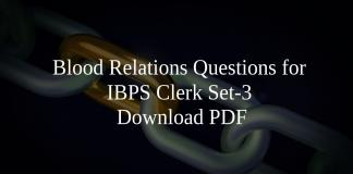 Blood Relations Questions for IBPS Clerk Set-3 PDF