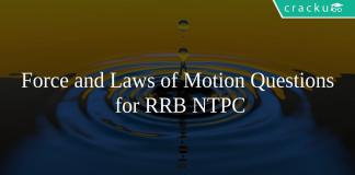 Force and Laws of Motion Questions for RRB NTPC