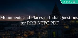 Monuments and Places in India Questions for RRB NTPC PDF