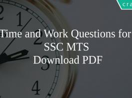 Time and Work Questions for SSC MTS PDF