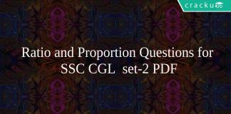 Ratio and Proportion Questions for SSC CGL set-2 PDF