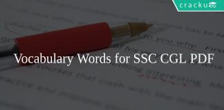 Vocabulary Words for SSC CGL PDF