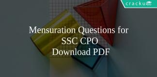 Mensuration Questions for SSC CPO PDF
