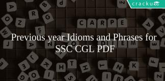 Previous year Idioms and Phrases for SSC CGL PDF