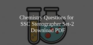 Chemistry Questions for SSC Stenographer Set-2 PDF