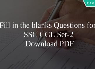 Fill in the blanks Questions for SSC CGL Set-2 PDF