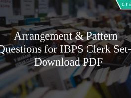 Arrangement & Pattern Questions for IBPS Clerk Set-2 PDF