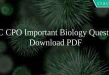 SSC CPO Important Biology Questions