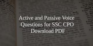 Active and Passive Voice Questions for SSC CPO PDF