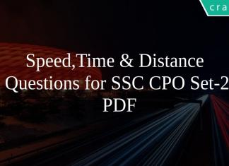 Speed,Time & Distance Questions for SSC CPO Set-2 PDF