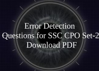 Error Detection Questions for SSC CPO Set-2 PDF