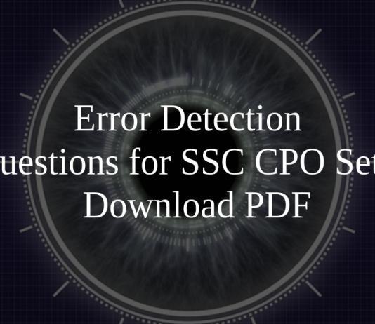 Error Detection Questions for SSC CPO Set-2 PDF
