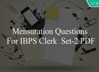 Mensuration questions for ibps clerk set-2 pdf