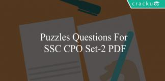 puzzles questions for ssc cpo set-2 pdf