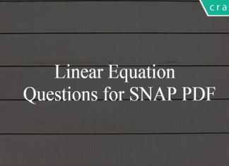 Linear Equation Questions for SNAP PDF