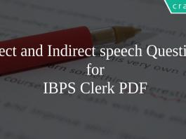Direct and Indirect speech Questions for IBPS Clerk PDF