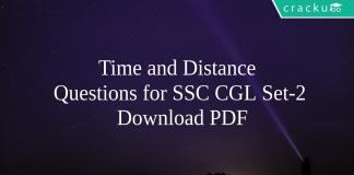 Time and Distance Questions for SSC CGL Set-2 PDF