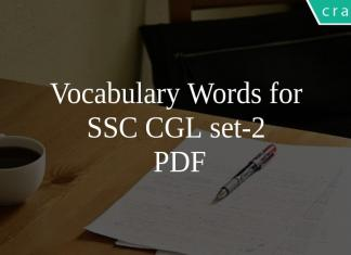 Vocabulary Words for SSC CGL set-2 PDF