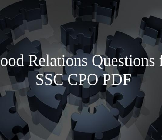 Blood Relations Questions for SSC CPO PDF