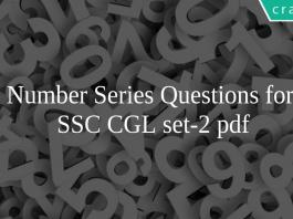Number Series Questions for SSC CGL set-2 pdf