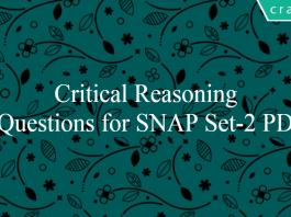 Critical Reasoning Questions for SNAP Set-2 PDF