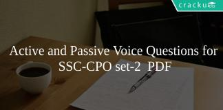 Active and Passive Voice Questions for SSC-CPO set-2 PDF