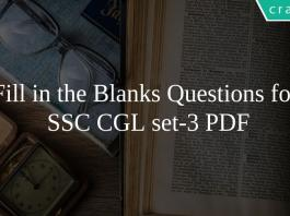 Fill in the Blanks Questions for SSC CGL set-3 PDF