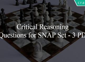 Critical Reasoning Questions for SNAP Set - 3 PDF